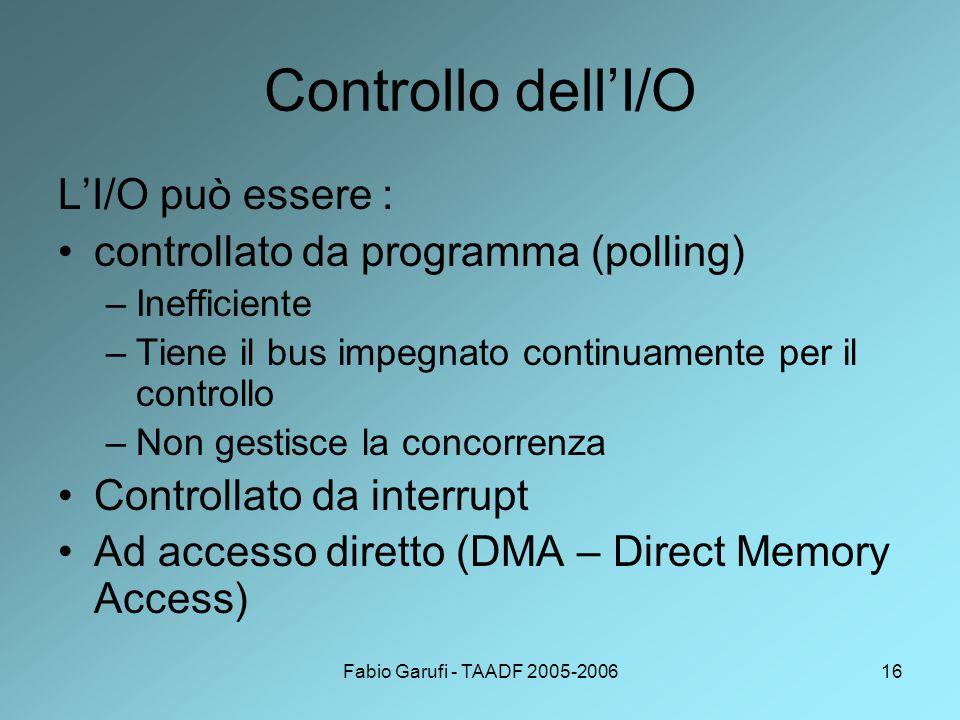 Fabio Garufi - TAADF 2005-200616 Controllo dell'I/O L'I/O può essere : controllato da programma (polling) –Inefficiente –Tiene il bus impegnato continuamente per il controllo –Non gestisce la concorrenza Controllato da interrupt Ad accesso diretto (DMA – Direct Memory Access)