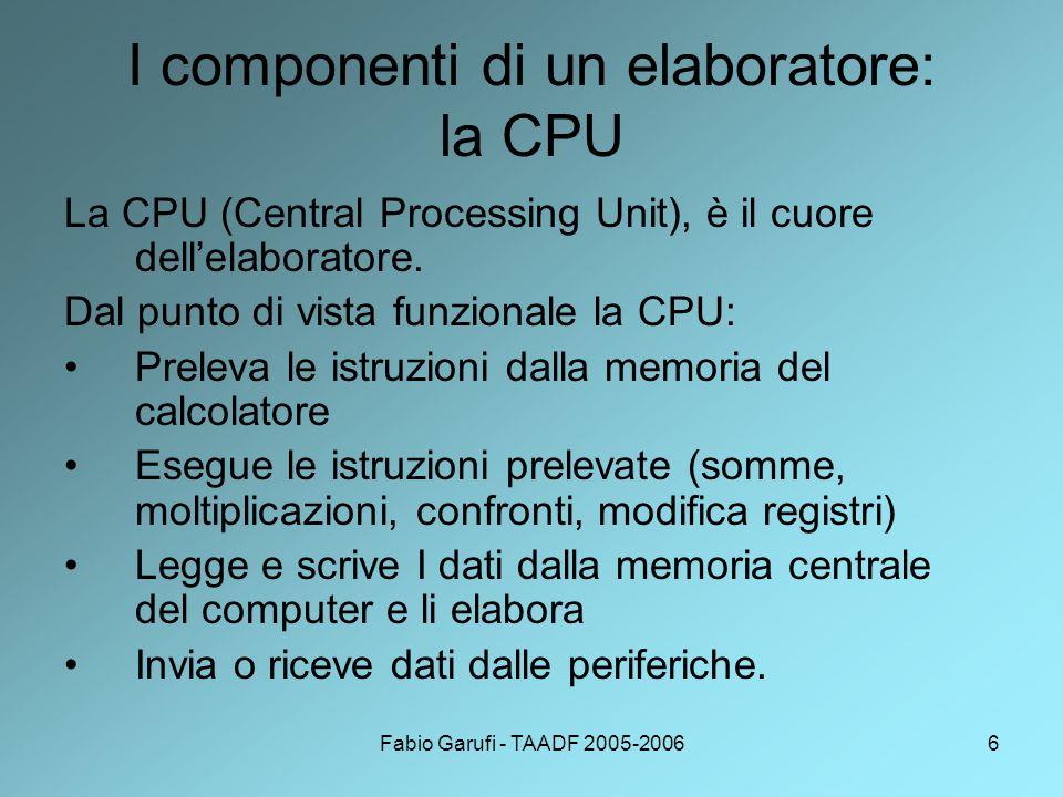 Fabio Garufi - TAADF 2005-20066 I componenti di un elaboratore: la CPU La CPU (Central Processing Unit), è il cuore dell'elaboratore.