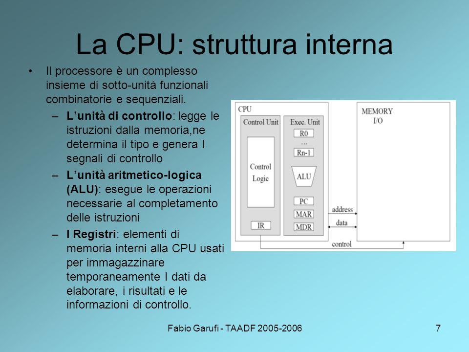 Fabio Garufi - TAADF 2005-20067 La CPU: struttura interna Il processore è un complesso insieme di sotto-unità funzionali combinatorie e sequenziali.
