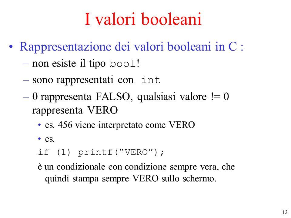 13 I valori booleani Rappresentazione dei valori booleani in C : –non esiste il tipo bool .