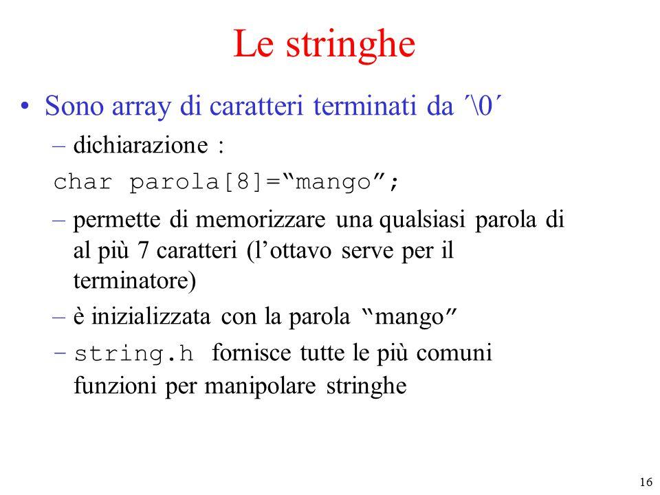 16 Le stringhe Sono array di caratteri terminati da ´\0´ –dichiarazione : char parola[8]= mango ; –permette di memorizzare una qualsiasi parola di al più 7 caratteri (l'ottavo serve per il terminatore) –è inizializzata con la parola mango –string.h fornisce tutte le più comuni funzioni per manipolare stringhe
