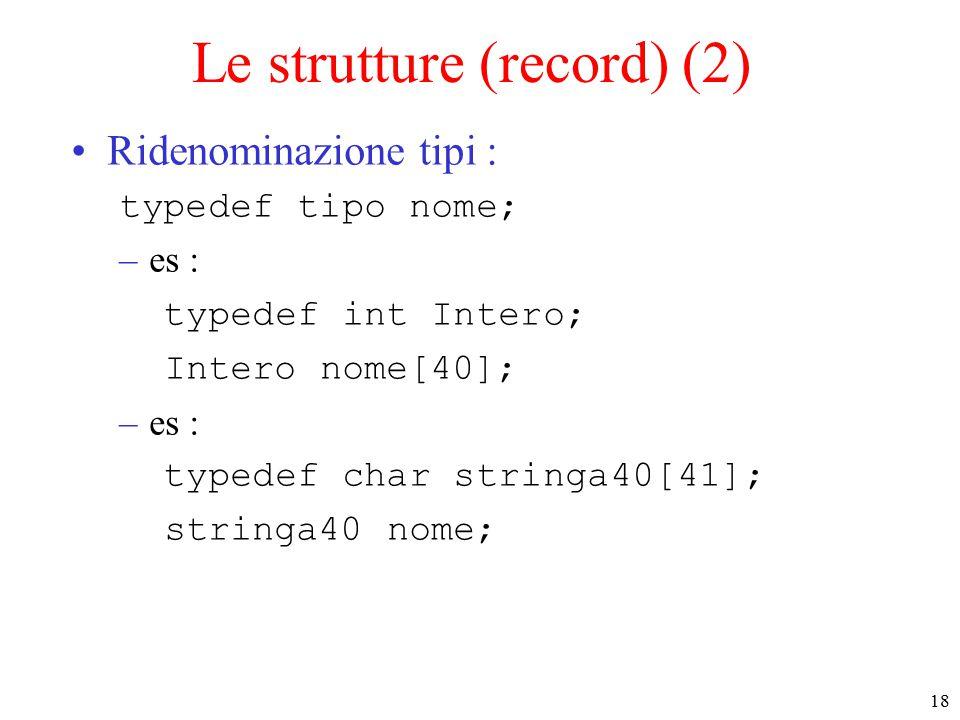 18 Le strutture (record) (2) Ridenominazione tipi : typedef tipo nome; –es : typedef int Intero; Intero nome[40]; –es : typedef char stringa40[41]; stringa40 nome;