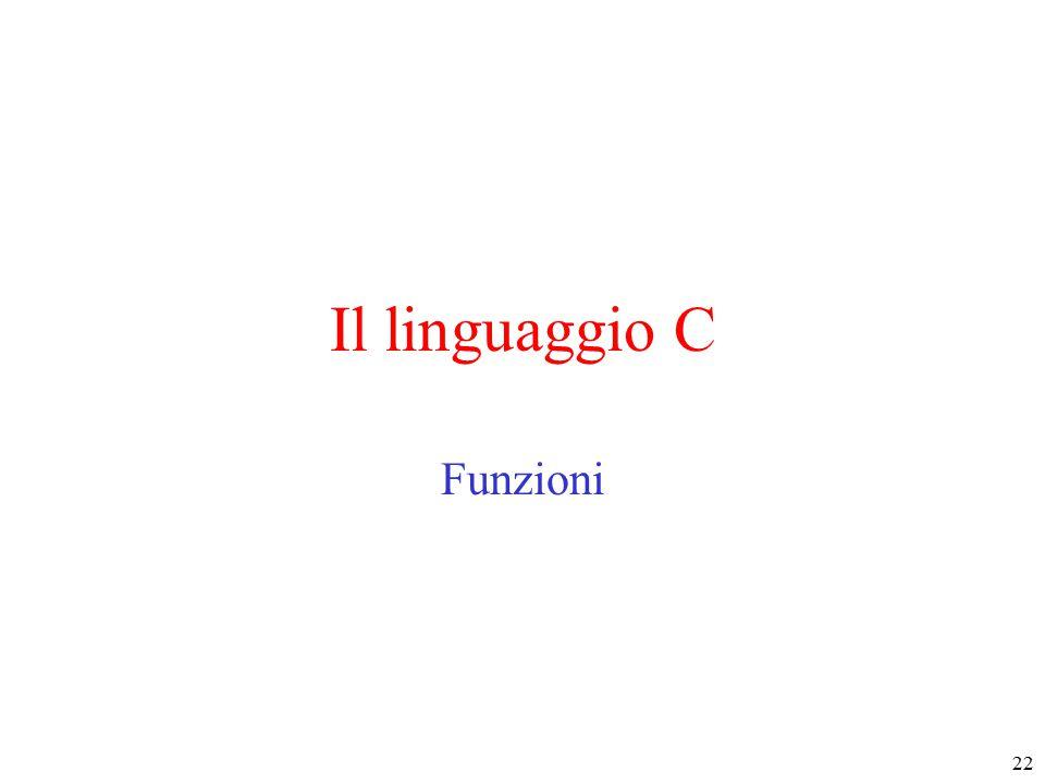 22 Il linguaggio C Funzioni