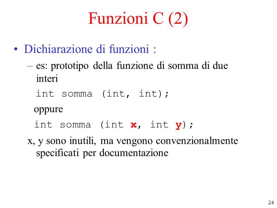 24 Funzioni C (2) Dichiarazione di funzioni : –es: prototipo della funzione di somma di due interi int somma (int, int); oppure int somma (int x, int y); x, y sono inutili, ma vengono convenzionalmente specificati per documentazione