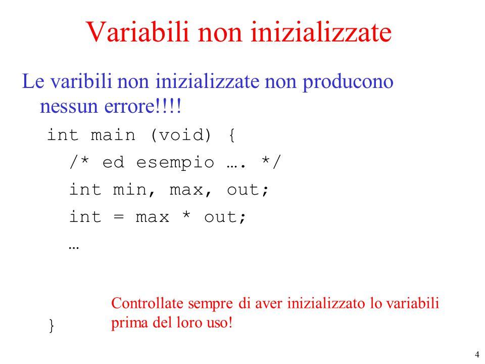 4 Variabili non inizializzate Le varibili non inizializzate non producono nessun errore!!!.