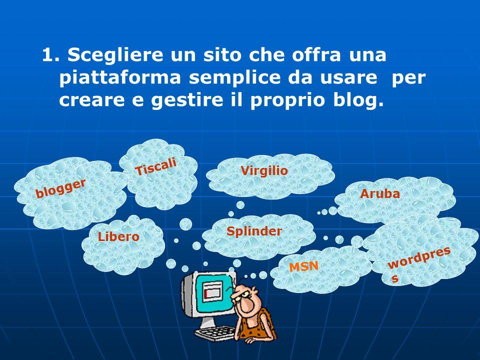 www.maddalenad.it 1. Scegliere un sito che offra una piattaforma semplice da usare per creare e gestire il proprio blog. MSN Splinder Tiscali Aruba Vi