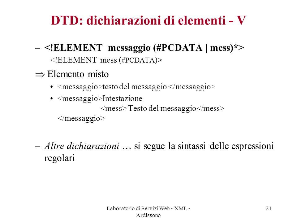 Laboratorio di Servizi Web - XML - Ardissono 21 DTD: dichiarazioni di elementi - V –  Elemento misto testo del messaggio Intestazione Testo del messaggio –Altre dichiarazioni … si segue la sintassi delle espressioni regolari