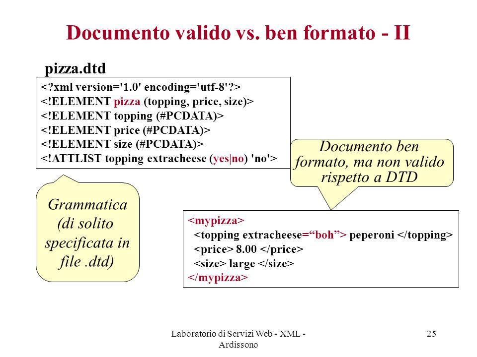 Laboratorio di Servizi Web - XML - Ardissono 25 Documento valido vs. ben formato - II pizza.dtd peperoni 8.00 large Grammatica (di solito specificata