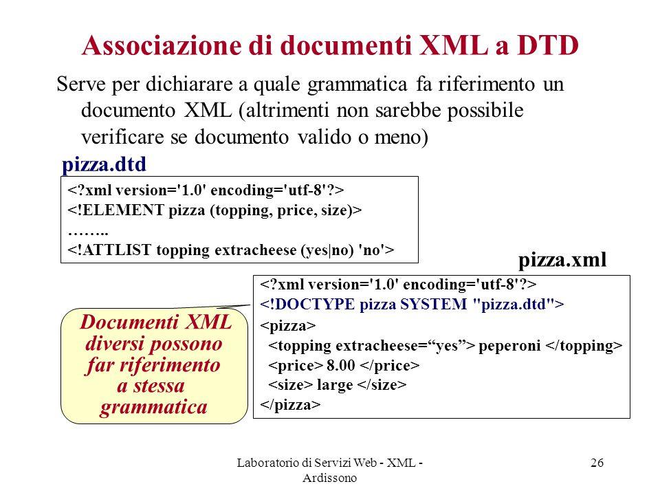 Laboratorio di Servizi Web - XML - Ardissono 26 Associazione di documenti XML a DTD Serve per dichiarare a quale grammatica fa riferimento un documento XML (altrimenti non sarebbe possibile verificare se documento valido o meno) ……..