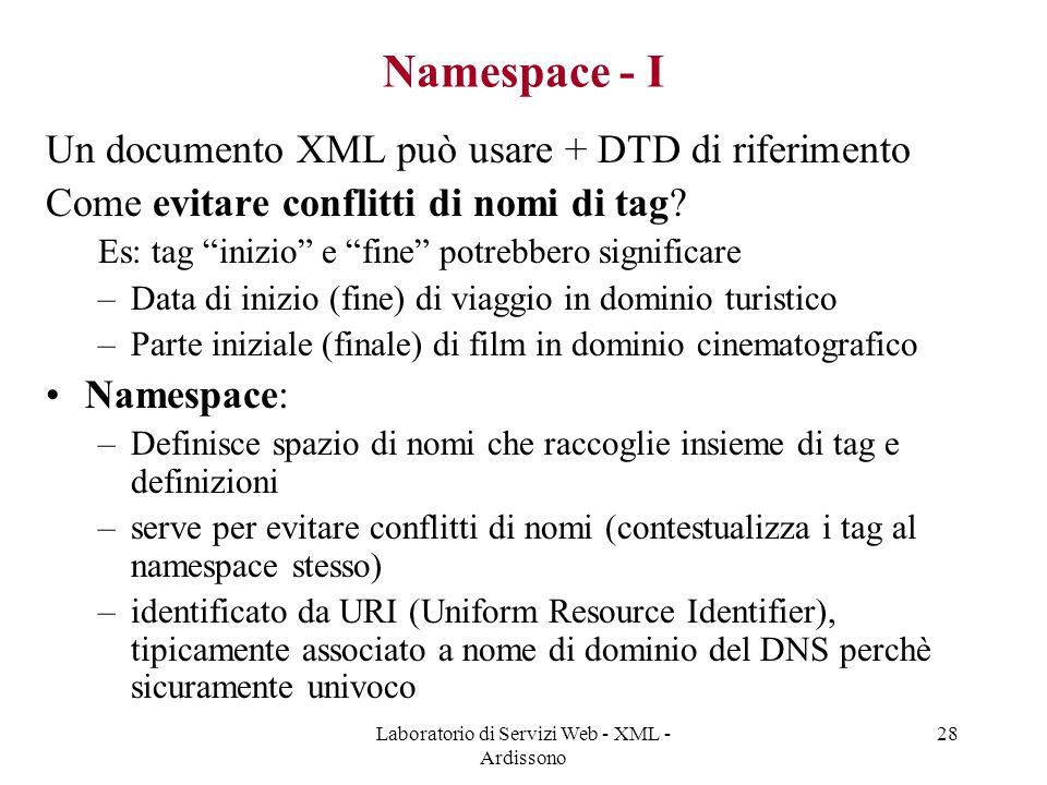 Laboratorio di Servizi Web - XML - Ardissono 28 Namespace - I Un documento XML può usare + DTD di riferimento Come evitare conflitti di nomi di tag.