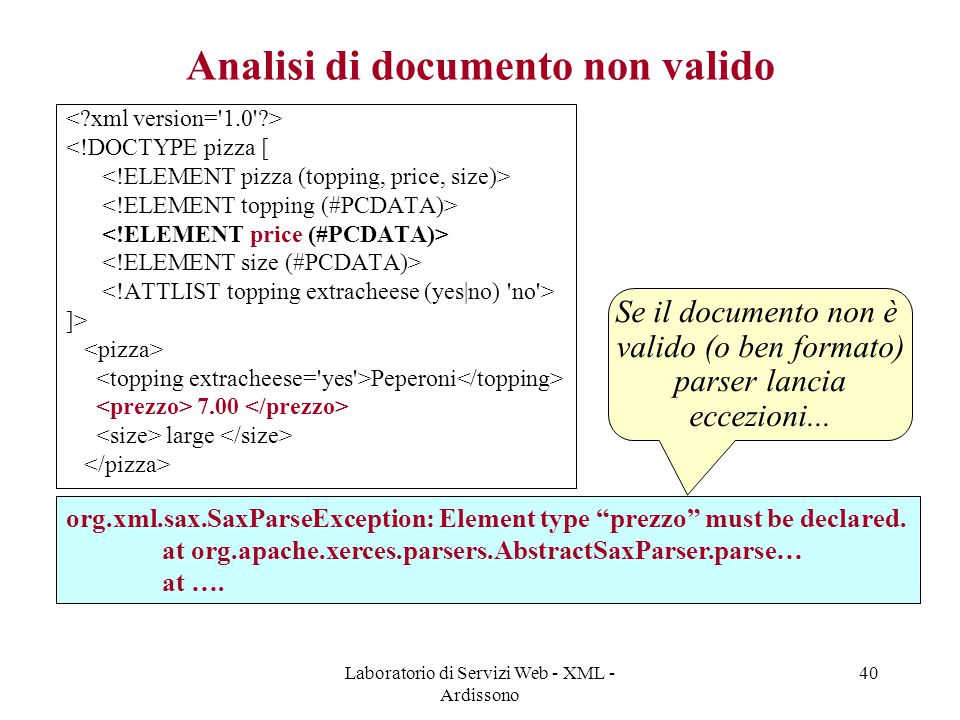 Laboratorio di Servizi Web - XML - Ardissono 40 Analisi di documento non valido <!DOCTYPE pizza [ ]> Peperoni 7.00 large org.xml.sax.SaxParseException: Element type prezzo must be declared.