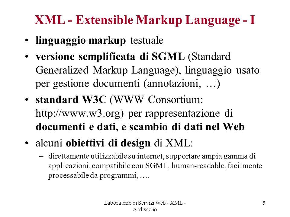 Laboratorio di Servizi Web - XML - Ardissono 16 DTD: Document Type Definition Regole grammaticali.