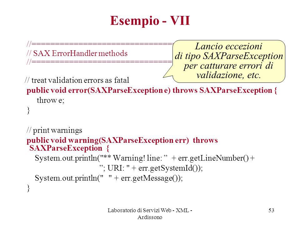 Laboratorio di Servizi Web - XML - Ardissono 53 Esempio - VII //================================================== // SAX ErrorHandler methods //=====