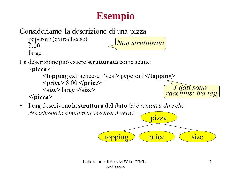 Laboratorio di Servizi Web - XML - Ardissono 7 Esempio Consideriamo la descrizione di una pizza peperoni (extracheese) 8.00 large La descrizione può essere strutturata come segue: peperoni 8.00 large I tag descrivono la struttura del dato (si è tentati a dire che descrivono la semantica, ma non è vero) I dati sono racchiusi tra tag Non strutturata pizza toppingpricesize