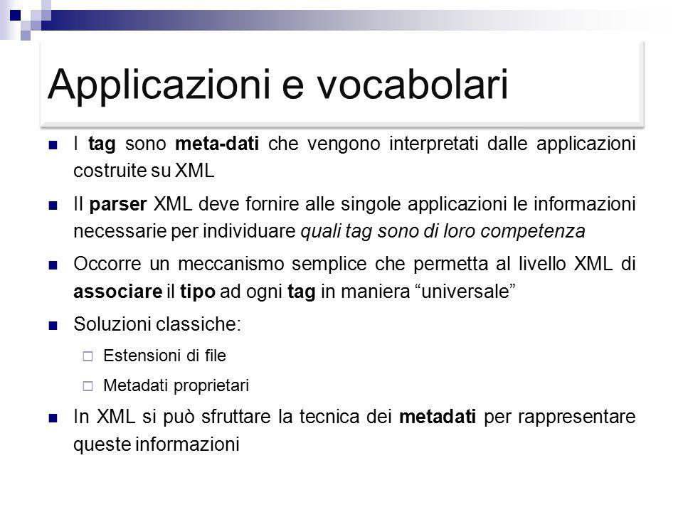 Applicazioni e vocabolari I tag sono meta-dati che vengono interpretati dalle applicazioni costruite su XML Il parser XML deve fornire alle singole applicazioni le informazioni necessarie per individuare quali tag sono di loro competenza Occorre un meccanismo semplice che permetta al livello XML di associare il tipo ad ogni tag in maniera universale Soluzioni classiche:  Estensioni di file  Metadati proprietari In XML si può sfruttare la tecnica dei metadati per rappresentare queste informazioni