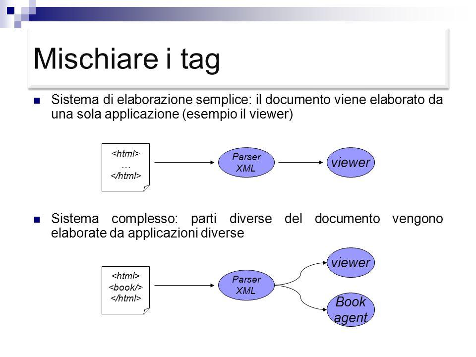 Mischiare i tag Sistema di elaborazione semplice: il documento viene elaborato da una sola applicazione (esempio il viewer) Sistema complesso: parti diverse del documento vengono elaborate da applicazioni diverse … Parser XML viewer Parser XML viewer Book agent