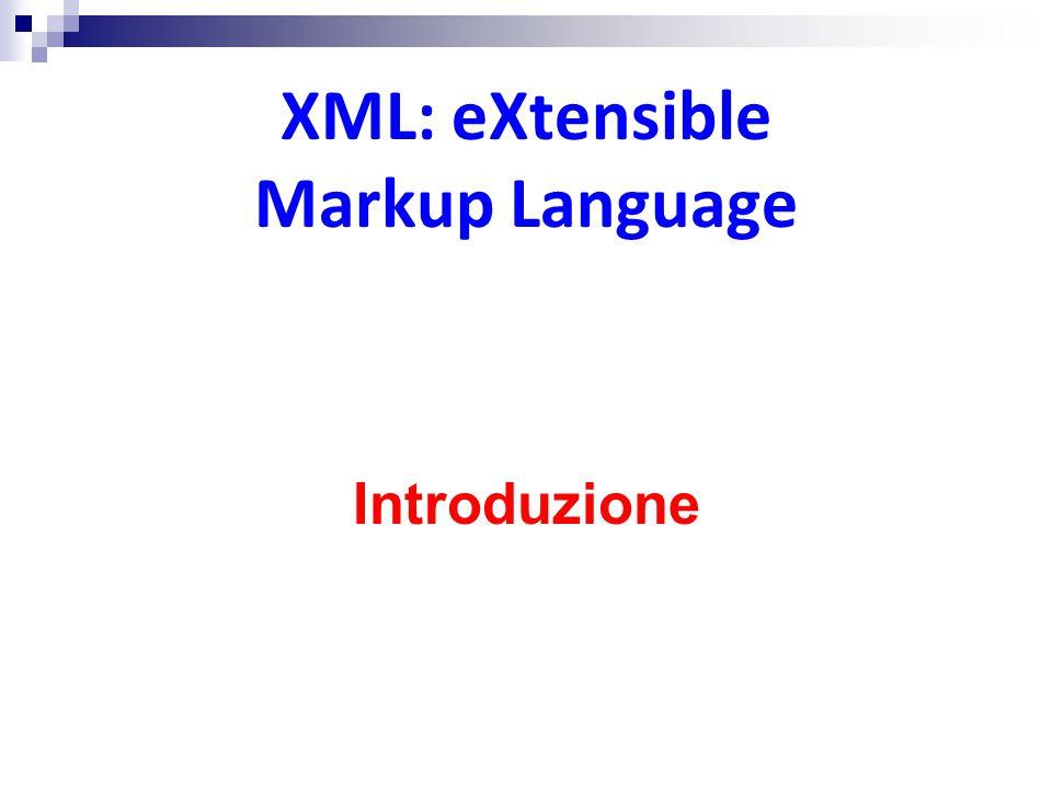 HTML: HyperText Markup Language HTML (HyperText Markup Language) nasce come semplici documenti testuali con immagini e collegamenti ipertestuali L'elemento fondamentale è il tag  testo tra ' ' contenente informazioni circa il testo  un meta-dato circa il dato vero e proprio che è nel testo Con il successo del web HTML viene usato per scopi diversi da quelli per cui era stato progettato  estensioni proprietarie  I parser (browser) rilassano le regole sintattiche ed interpretano anche documenti HTML scorretti (in maniera differente l'uno dall'altro)