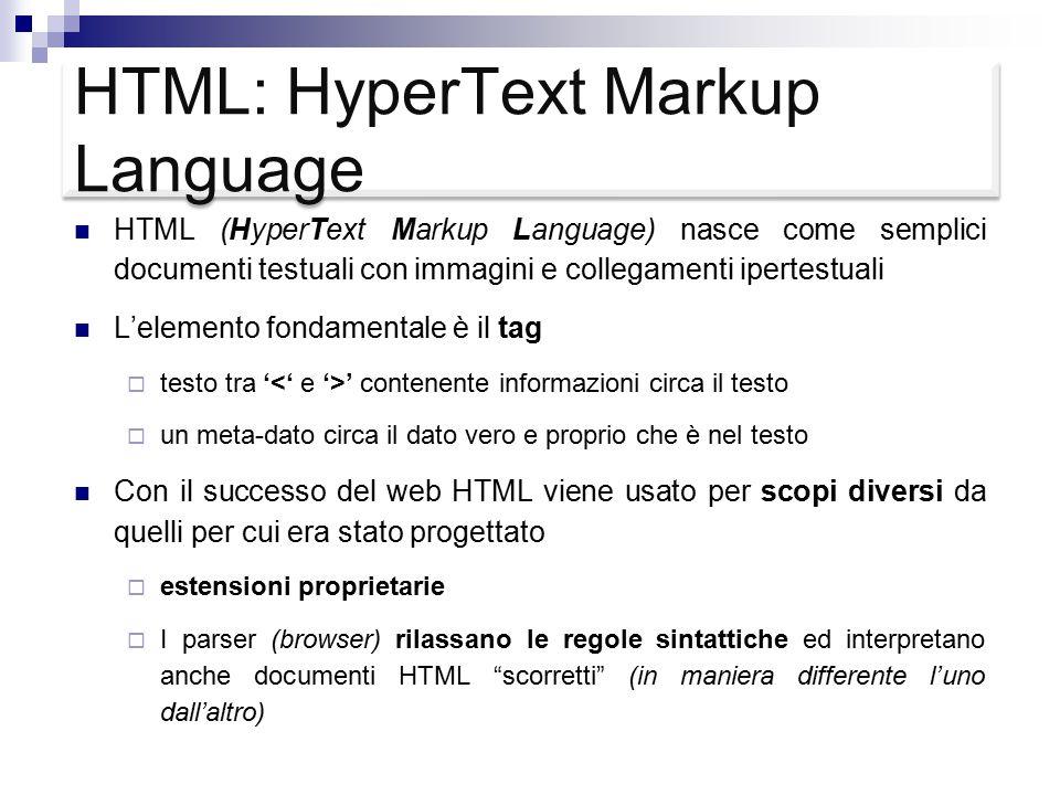 XML: eXtensible Markup Language XML è nato per far fronte alle limitazioni di HTML nella realizzazione delle nuove applicazioni Web, in cui i dati costituiscono un elemento essenziale (data-centric Web applications).