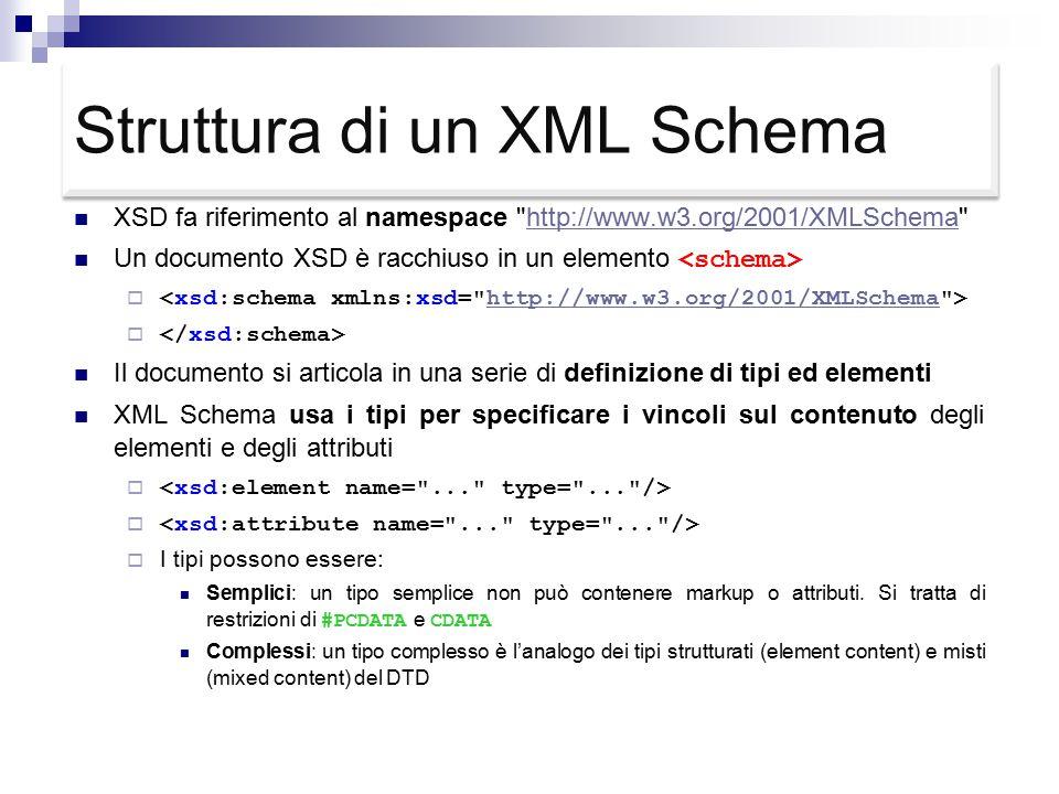 Struttura di un XML Schema XSD fa riferimento al namespace http://www.w3.org/2001/XMLSchema http://www.w3.org/2001/XMLSchema Un documento XSD è racchiuso in un elemento  http://www.w3.org/2001/XMLSchema  Il documento si articola in una serie di definizione di tipi ed elementi XML Schema usa i tipi per specificare i vincoli sul contenuto degli elementi e degli attributi   I tipi possono essere: Semplici: un tipo semplice non può contenere markup o attributi.
