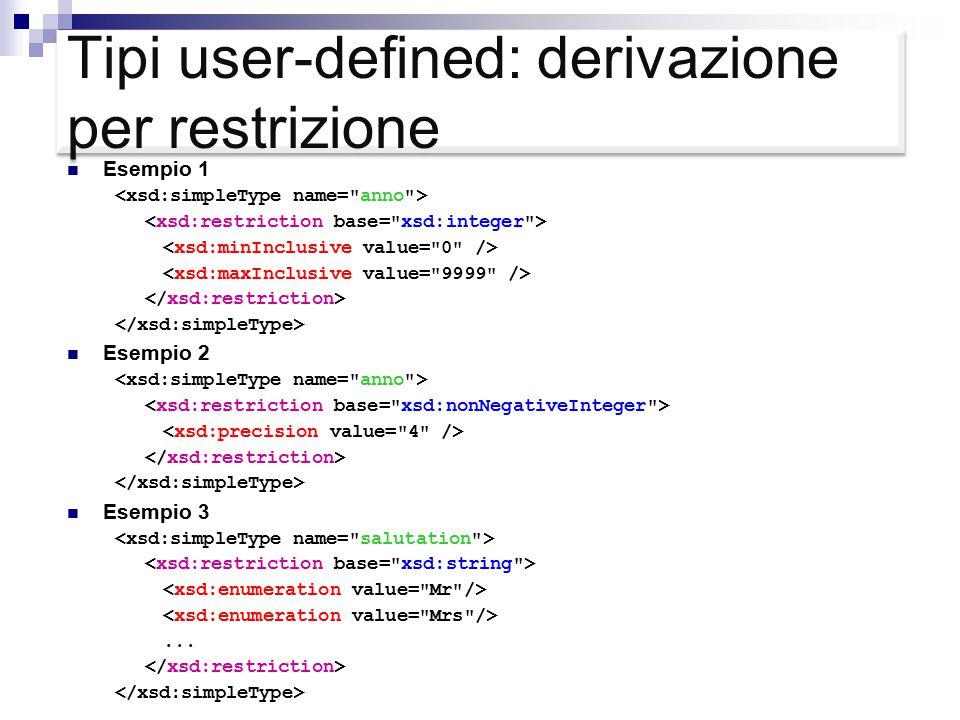 Tipi user-defined: derivazione per restrizione Esempio 1 Esempio 2 Esempio 3...