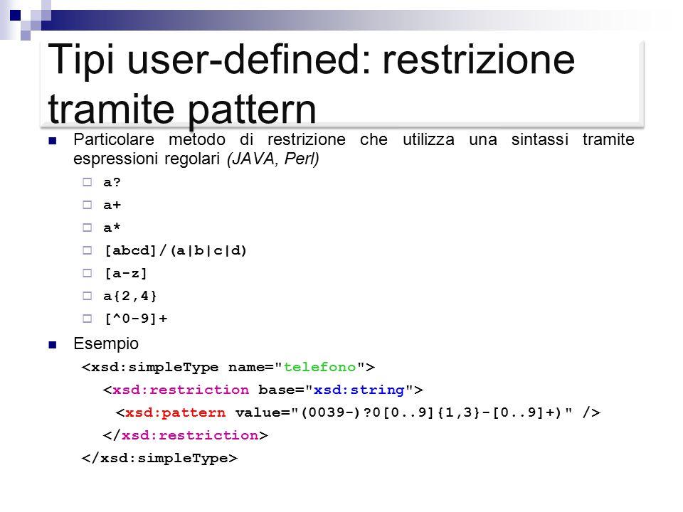 Tipi user-defined: restrizione tramite pattern Particolare metodo di restrizione che utilizza una sintassi tramite espressioni regolari (JAVA, Perl)  a.