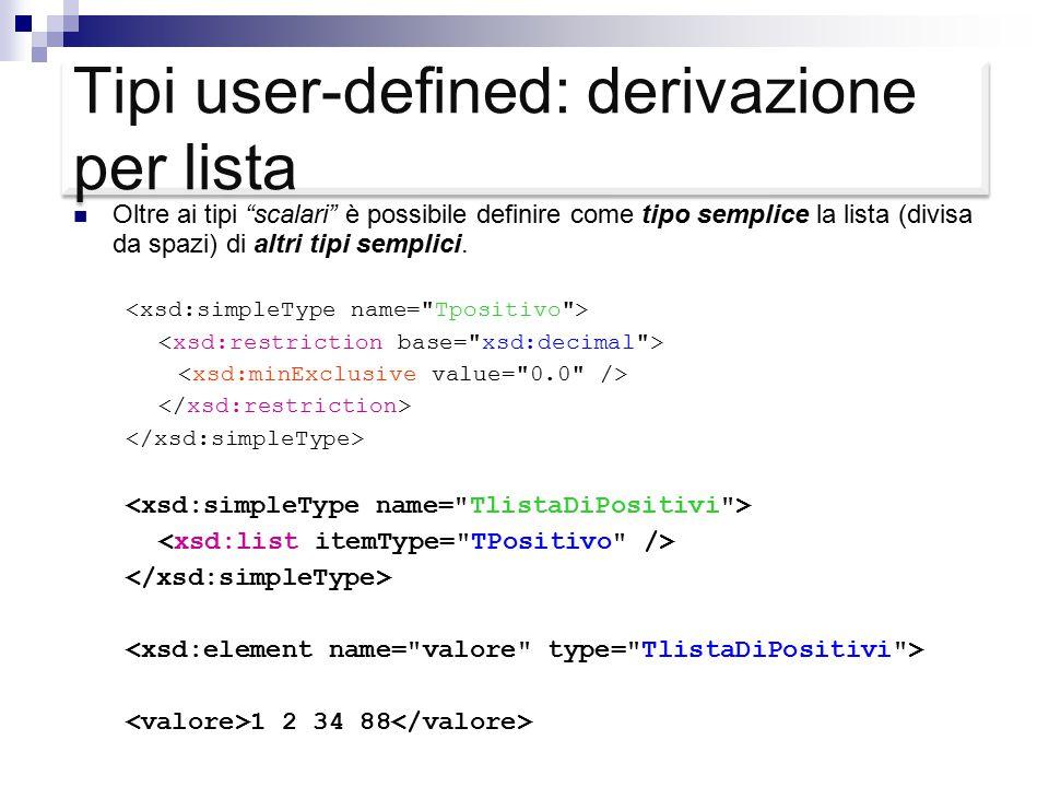 Tipi user-defined: derivazione per lista Oltre ai tipi scalari è possibile definire come tipo semplice la lista (divisa da spazi) di altri tipi semplici.