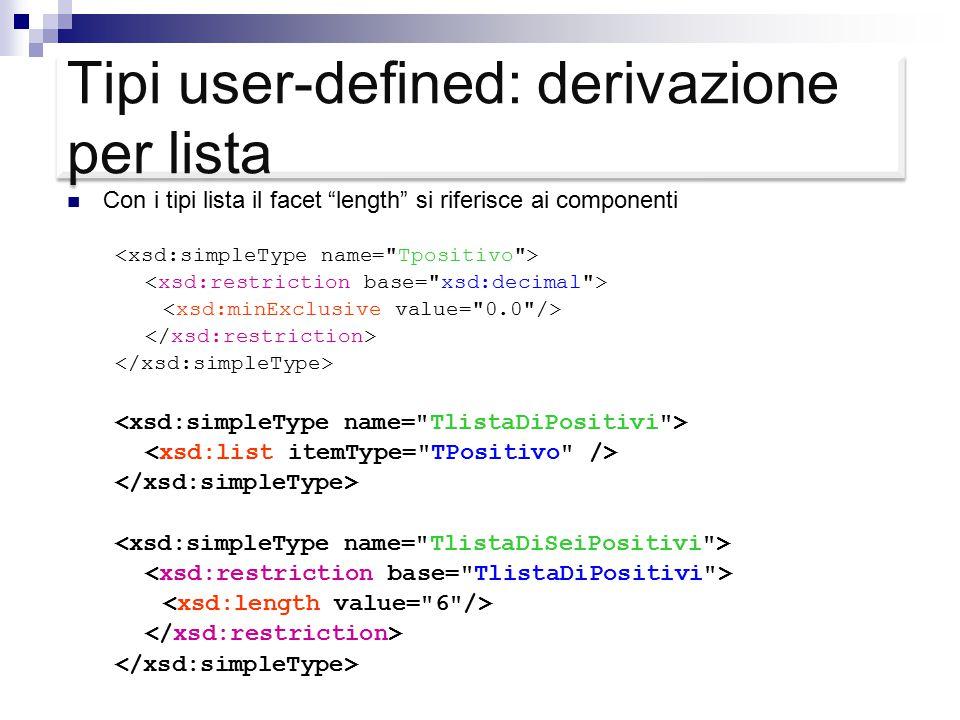 Tipi user-defined: derivazione per lista Con i tipi lista il facet length si riferisce ai componenti