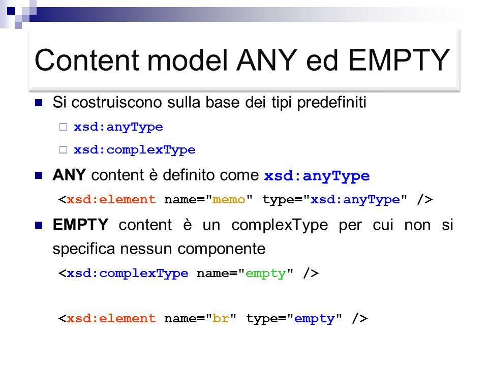 Content model ANY ed EMPTY Si costruiscono sulla base dei tipi predefiniti  xsd:anyType  xsd:complexType ANY content è definito come xsd:anyType EMPTY content è un complexType per cui non si specifica nessun componente