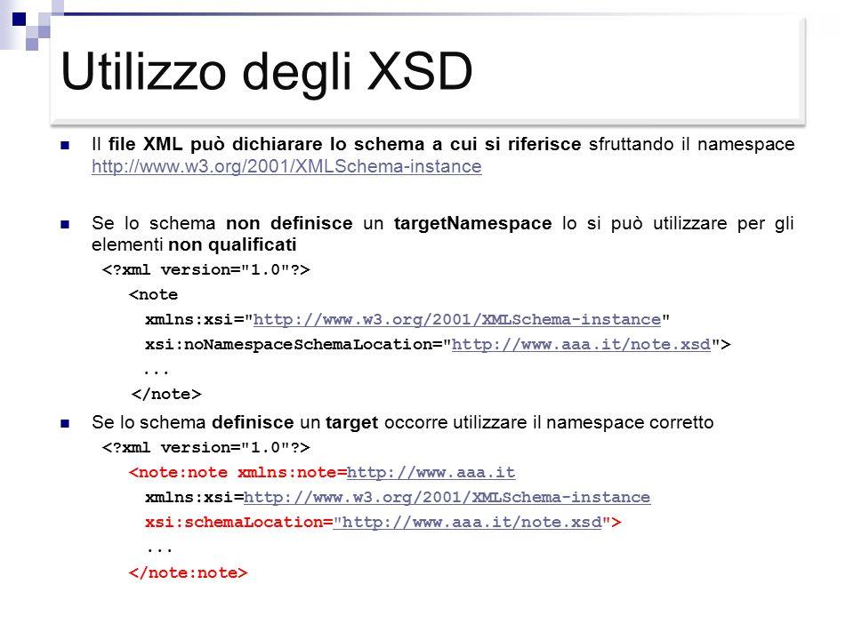 Utilizzo degli XSD Il file XML può dichiarare lo schema a cui si riferisce sfruttando il namespace http://www.w3.org/2001/XMLSchema-instance http://www.w3.org/2001/XMLSchema-instance Se lo schema non definisce un targetNamespace lo si può utilizzare per gli elementi non qualificati <note xmlns:xsi= http://www.w3.org/2001/XMLSchema-instance http://www.w3.org/2001/XMLSchema-instance xsi:noNamespaceSchemaLocation= http://www.aaa.it/note.xsd >http://www.aaa.it/note.xsd...