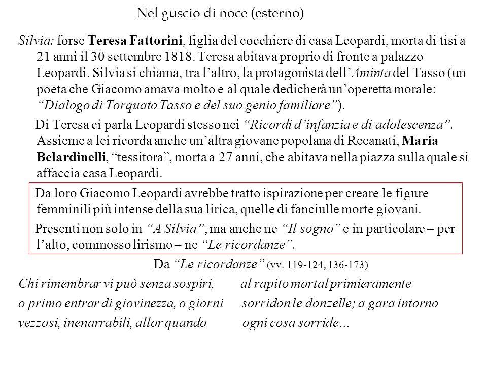 Nel guscio di noce (esterno) Silvia: forse Teresa Fattorini, figlia del cocchiere di casa Leopardi, morta di tisi a 21 anni il 30 settembre 1818. Tere