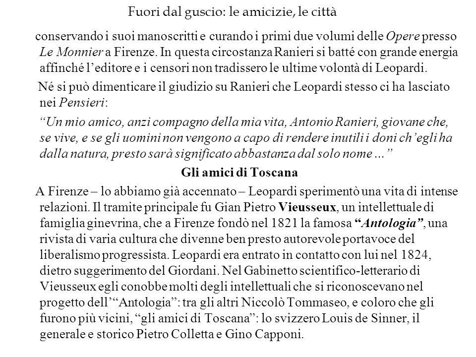Fuori dal guscio: le amicizie, le città conservando i suoi manoscritti e curando i primi due volumi delle Opere presso Le Monnier a Firenze. In questa