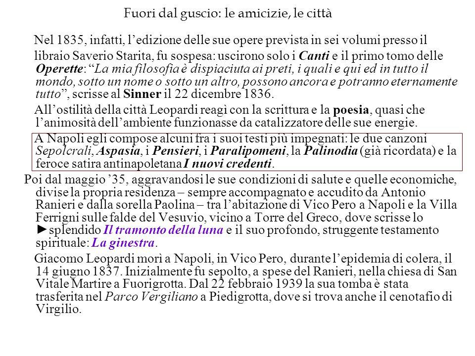 Fuori dal guscio: le amicizie, le città Nel 1835, infatti, l'edizione delle sue opere prevista in sei volumi presso il libraio Saverio Starita, fu sos