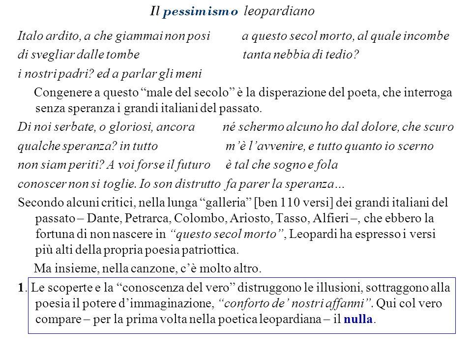Il pessimismo leopardiano Italo ardito, a che giammai non posi a questo secol morto, al quale incombe di svegliar dalle tombe tanta nebbia di tedio? i