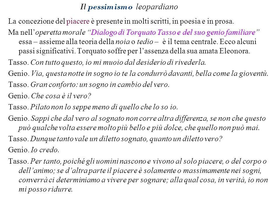 Il pessimismo leopardiano La concezione del piacere è presente in molti scritti, in poesia e in prosa. Dialogo di Torquato Tasso e del suo genio famil