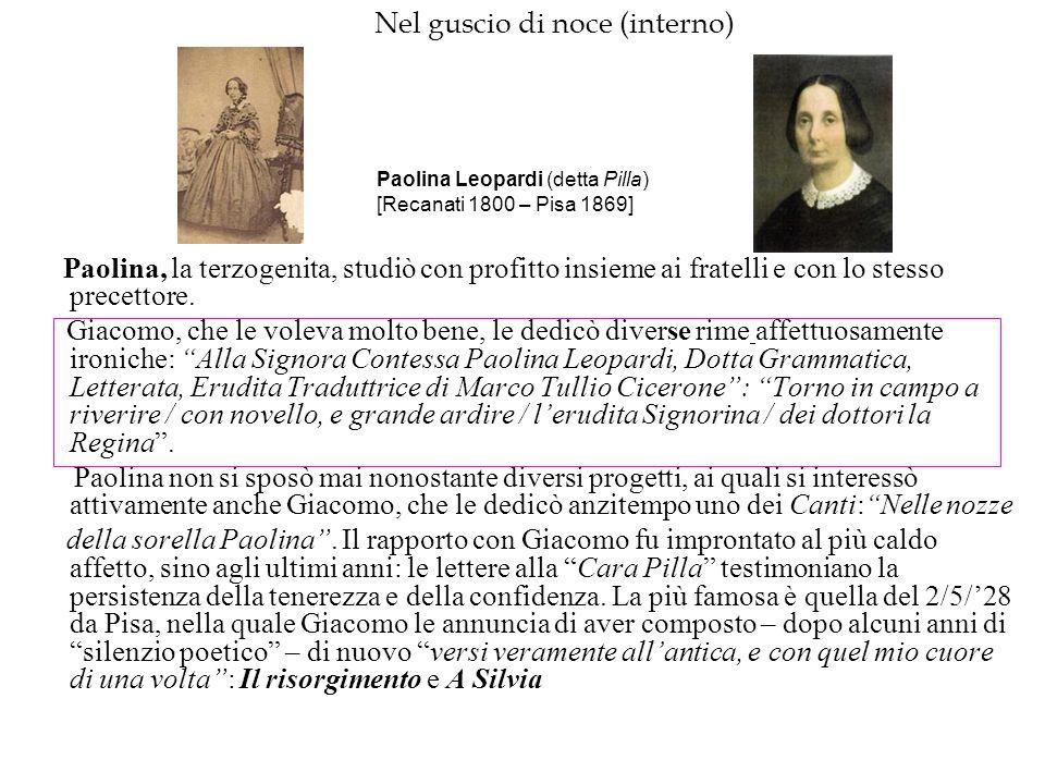 Nel guscio di noce (interno) Paolina, la terzogenita, studiò con profitto insieme ai fratelli e con lo stesso precettore. Giacomo, che le voleva molto