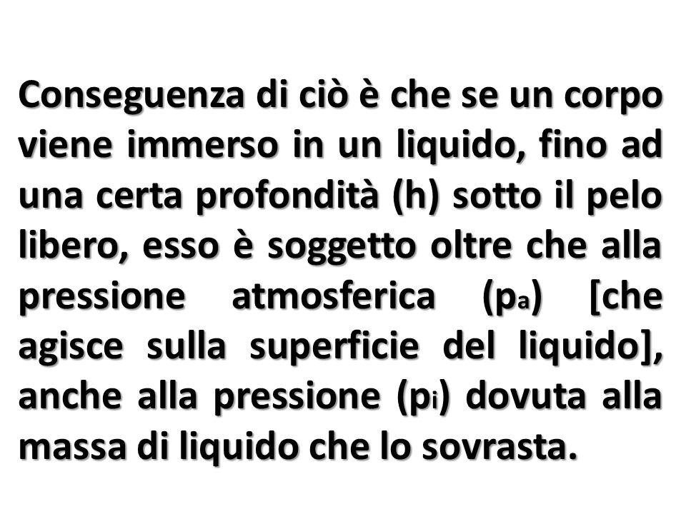 Conseguenza di ciò è che se un corpo viene immerso in un liquido, fino ad una certa profondità (h) sotto il pelo libero, esso è soggetto oltre che alla pressione atmosferica (p a ) [che agisce sulla superficie del liquido], anche alla pressione (p i ) dovuta alla massa di liquido che lo sovrasta.