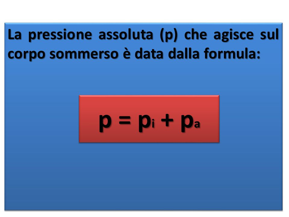 La pressione assoluta (p) che agisce sul corpo sommerso è data dalla formula: p = p i + p a