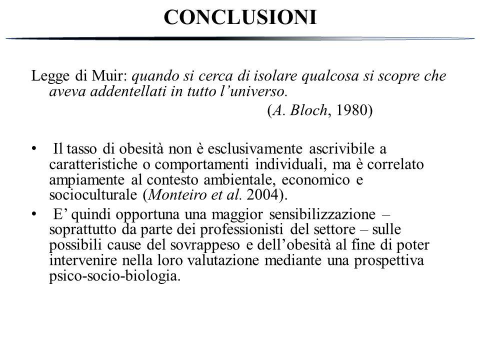 CONCLUSIONI Legge di Muir: quando si cerca di isolare qualcosa si scopre che aveva addentellati in tutto l'universo.