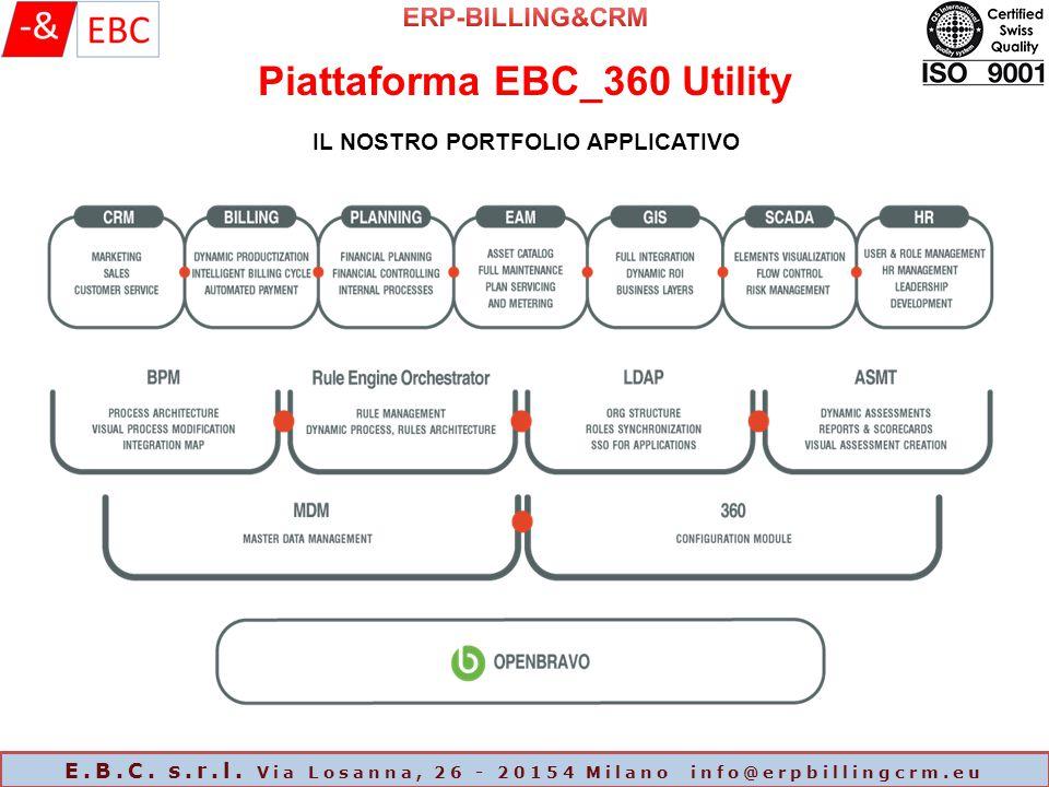 Piattaforma EBC_360 Utility E.B.C. s.r.l. Via Losanna, 26 - 20154 Milano info@erpbillingcrm.eu IL NOSTRO PORTFOLIO APPLICATIVO