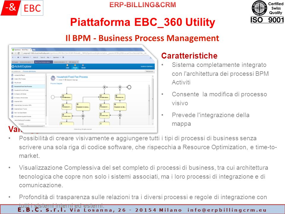 Piattaforma EBC_360 Utility E.B.C. s.r.l. Via Losanna, 26 - 20154 Milano info@erpbillingcrm.eu Il BPM - Business Process Management Caratteristiche Si