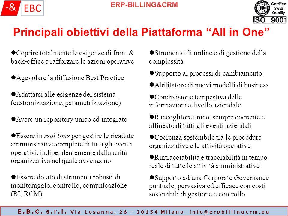 """Principali obiettivi della Piattaforma """"All in One"""" Coprire totalmente le esigenze di front & back-office e rafforzare le azioni operative Agevolare l"""