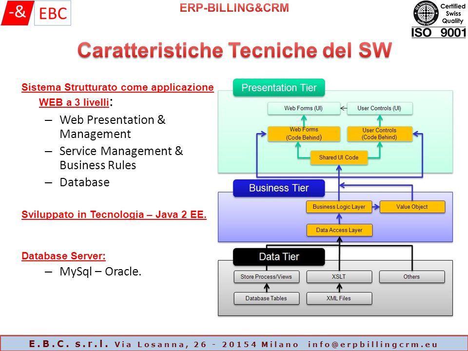 Sistema Strutturato come applicazione WEB a 3 livelli : – Web Presentation & Management – Service Management & Business Rules – Database Sviluppato in Tecnologia – Java 2 EE.