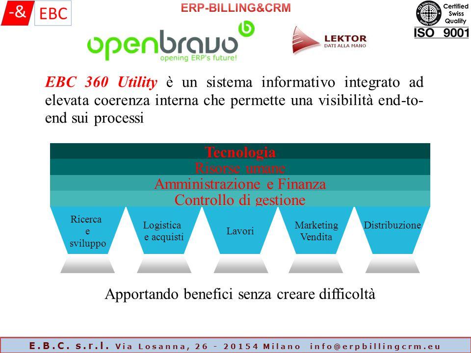 E.B.C. s.r.l. Via Losanna, 26 - 20154 Milano info@erpbillingcrm.eu EBC 360 Utility è un sistema informativo integrato ad elevata coerenza interna che