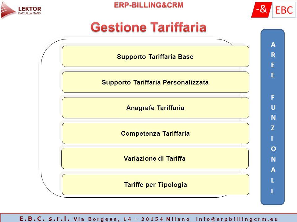 Supporto Tariffaria Base Supporto Tariffaria Personalizzata Anagrafe Tariffaria Competenza Tariffaria Variazione di Tariffa Tariffe per Tipologia E.B.