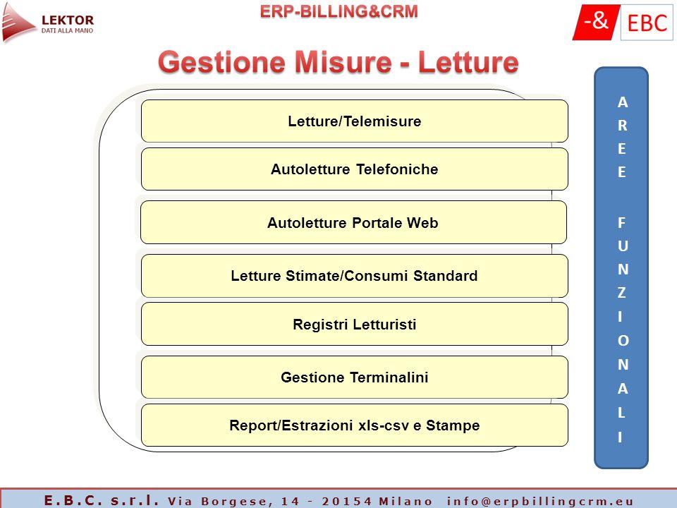 Letture/Telemisure Autoletture Telefoniche Autoletture Portale Web Letture Stimate/Consumi Standard Registri Letturisti Gestione Terminalini Report/Es
