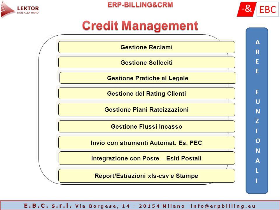 Gestione Reclami Gestione Solleciti Gestione Pratiche al Legale Gestione del Rating Clienti Gestione Piani Rateizzazioni Invio con strumenti Automat.