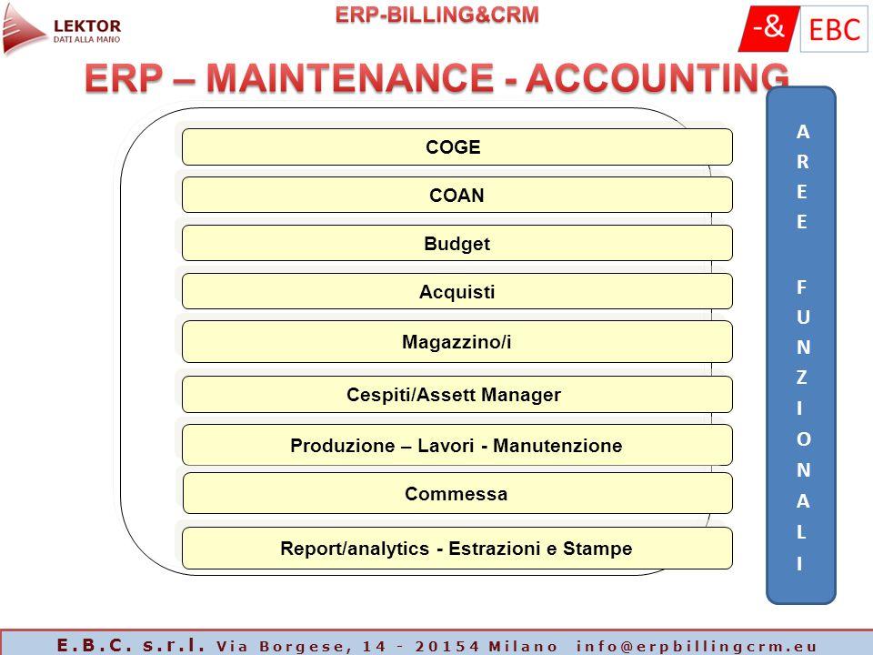 COGE COAN Budget Acquisti Magazzino/i Produzione – Lavori - Manutenzione Cespiti/Assett Manager Commessa Report/analytics - Estrazioni e Stampe E.B.C.