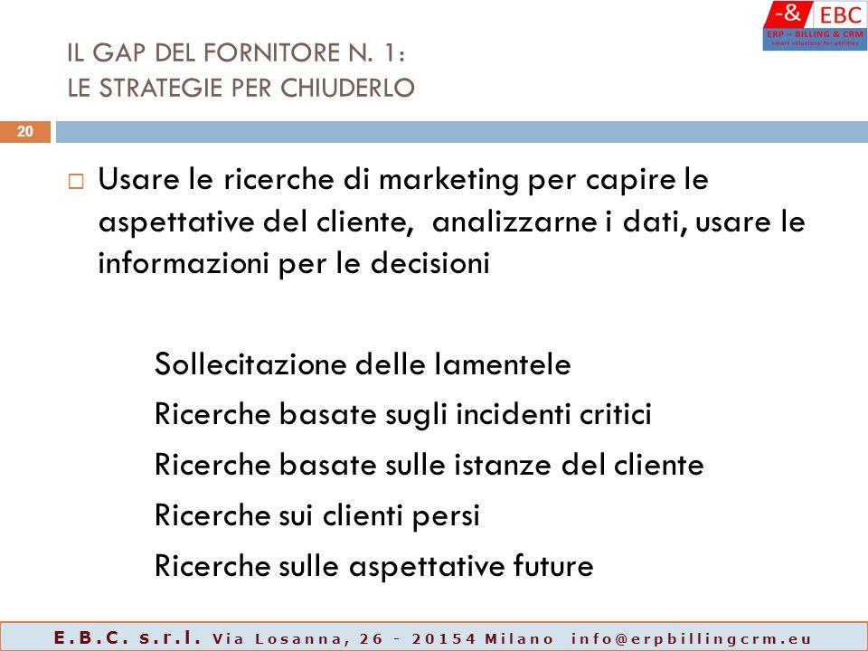 IL GAP DEL FORNITORE N. 1: LE STRATEGIE PER CHIUDERLO  Usare le ricerche di marketing per capire le aspettative del cliente, analizzarne i dati, usar