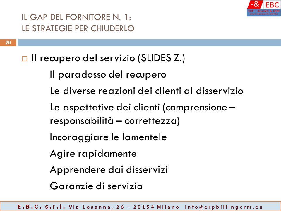 IL GAP DEL FORNITORE N. 1: LE STRATEGIE PER CHIUDERLO  Il recupero del servizio (SLIDES Z.) Il paradosso del recupero Le diverse reazioni dei clienti