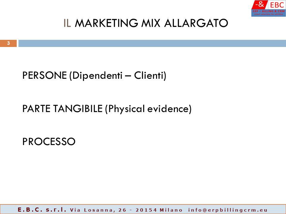 IL MARKETING MIX ALLARGATO PERSONE (Dipendenti – Clienti) PARTE TANGIBILE (Physical evidence) PROCESSO 3 E.B.C. s.r.l. Via Losanna, 26 - 20154 Milano